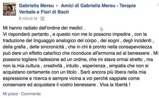 Gabriella Mereu annuncia su social network la radiazione dall'Ordine dei Medici