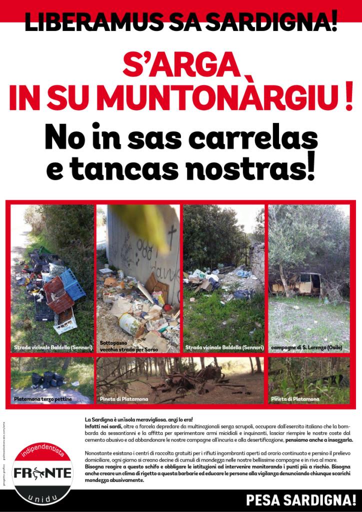 Campagna di denuncia e sensibilizzazione ambientale del Fronte Indipendentista Unidu nel sassarese