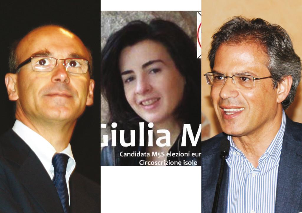 Parlamentari europei eletti in Sardegna: da sinistra, Renato Soru (PD), Guilia Moi (M5S) e Salvatore Cicu (FI)